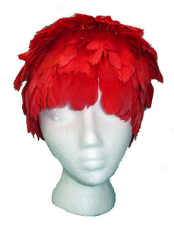 Goose feather wig red